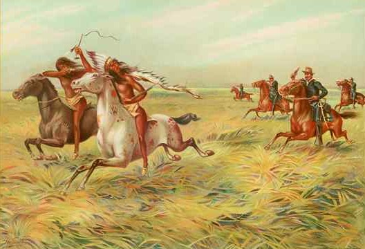 """Painting: """"Cavalry and Indians"""" by Unknown - Werner Company, Akron, Ohio. Licensed under Public domain via Wikimedia Commons"""